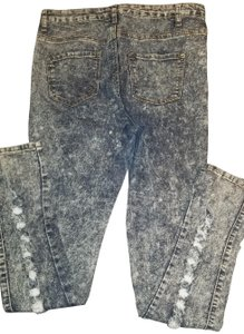 Revolt Jeans Acid Wash Distressed Full Length Open Back Shirts Skinny Jeans-Acid
