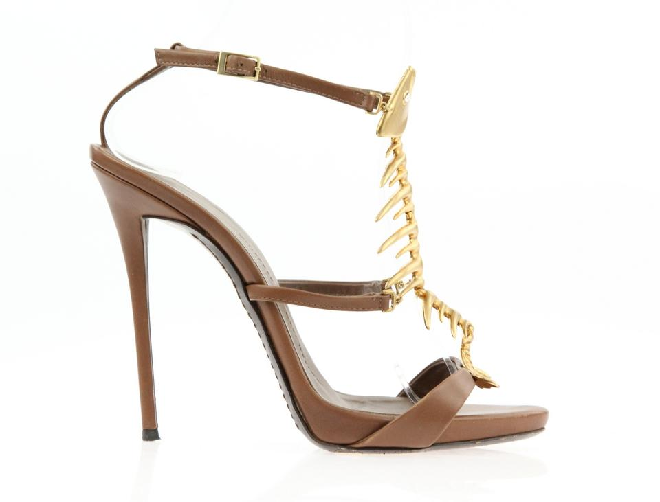 c1b5a9990a459 Giuseppe Zanotti Brown Fish Sandals Size EU 36.5 (Approx. US 6.5 ...
