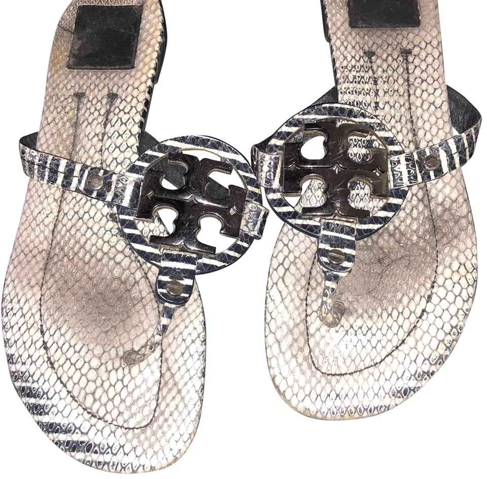 Tory Burch Navy and White Flats Miller Striped Leather Sandal Flats White 89624d