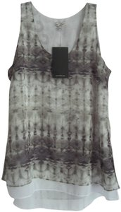 Calvin Klein Scoop Neckline Absgtract Tie Dye Lined Chiffon Fabric Contrast Materials Top Multi-Color