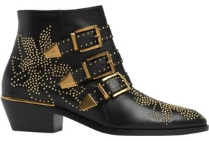 Chloé Leather Ankle Susannah Black Boots