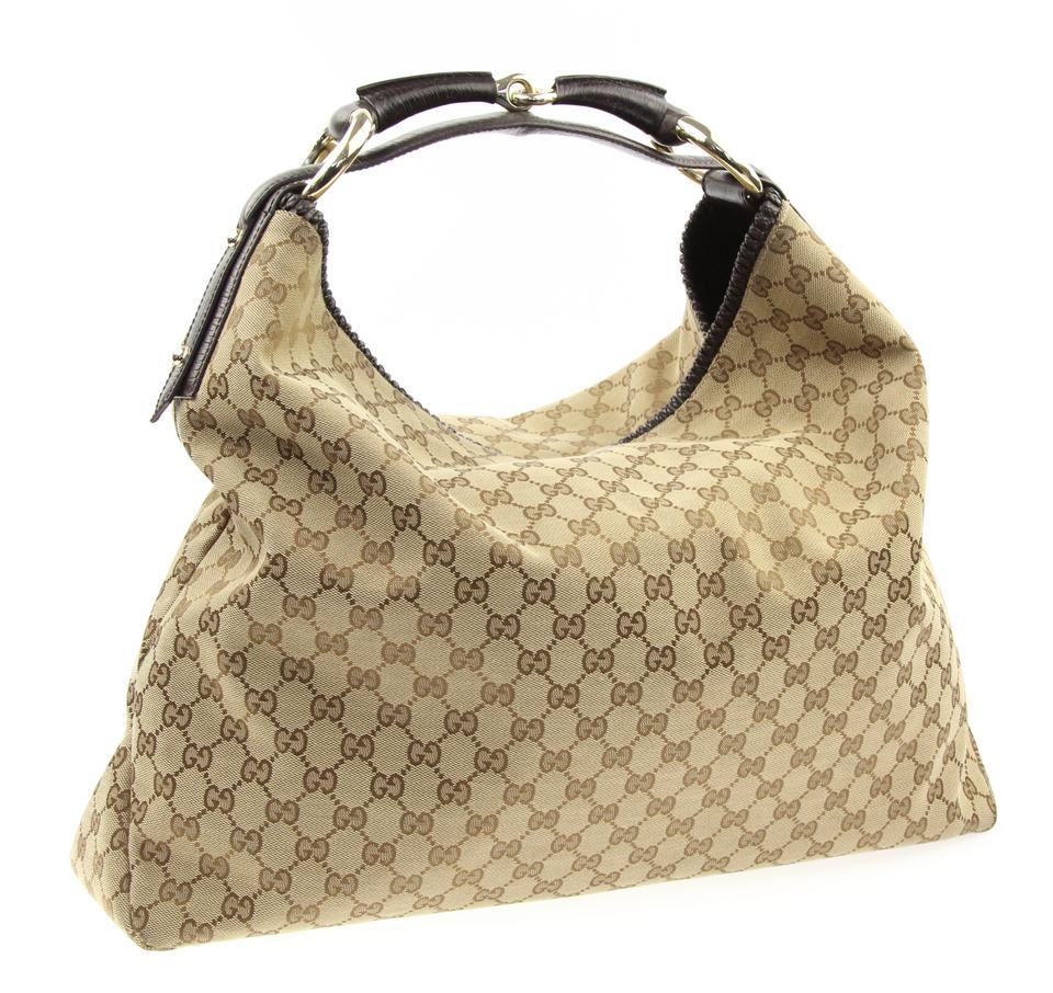 c754291ebbbe Gucci Horsebit Large Beige and Brown Gg Canvas Hobo Bag - Tradesy