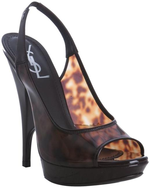 Saint Laurent Brown Yves Peeptoe Tortoise Shell Pumps Size US 7 Regular (M, B) Saint Laurent Brown Yves Peeptoe Tortoise Shell Pumps Size US 7 Regular (M, B) Image 1
