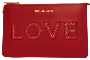 MICHAEL Michael Kors Leather Ultra Medium Motivational Love Wristlet in Pink