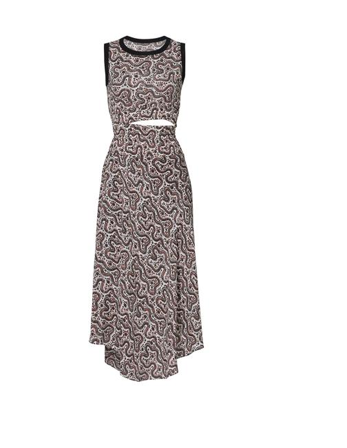 Item - Red Black and Cream Sandra Cutout Floral Midi Mid-length Casual Maxi Dress Size 10 (M)