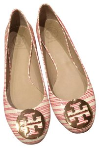 Tory Burch Cream and Red Flats