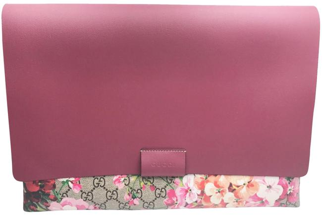 Item - Blooms Floral Coated Large Raspberry Red Green Brown Leather Clutch