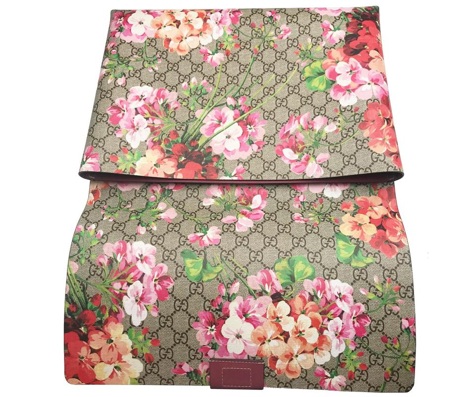 a0b7904540e167 Gucci Floral Coated Raspberry Red Green Brown Leather Clutch - Tradesy