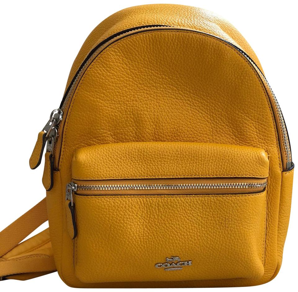 choose genuine best loved new york Coach F38263 Mini Charlie In Pebble Canary Yellow Leather Backpack 45% off  retail