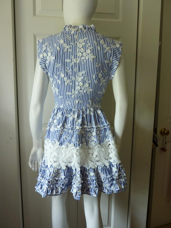c4f3cab8e970 Alexis Blue Striped Ruffle Embroidered Short Casual Dress Size 2 (XS ...