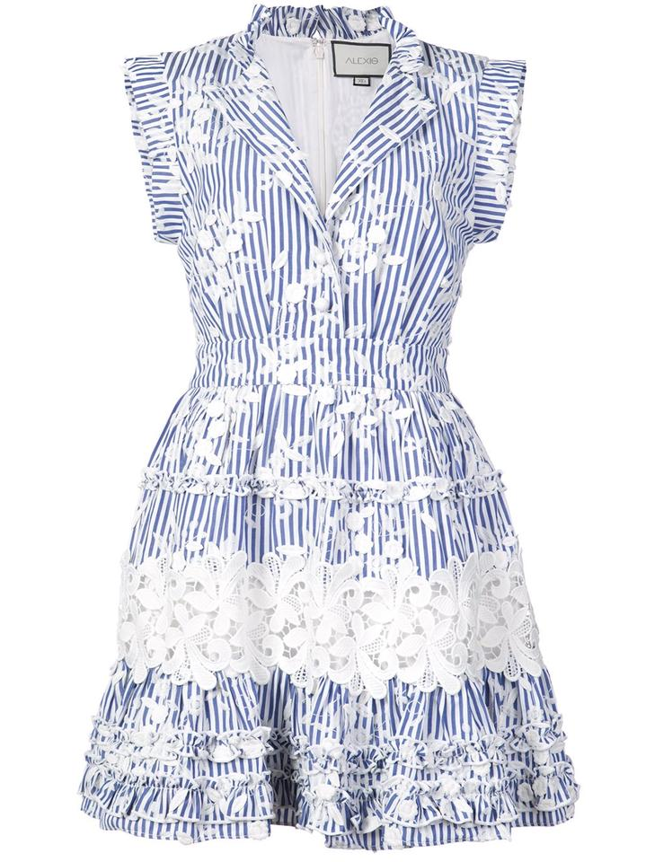 c46739d407f5 Alexis Blue Striped Ruffle Embroidered Short Casual Dress Size 2 (XS) -  Tradesy
