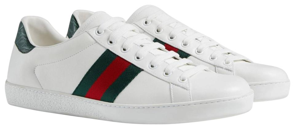 e4b3f674b11 Gucci White Ace Leather Sneaker Green Crocodile Detail At The Back ...