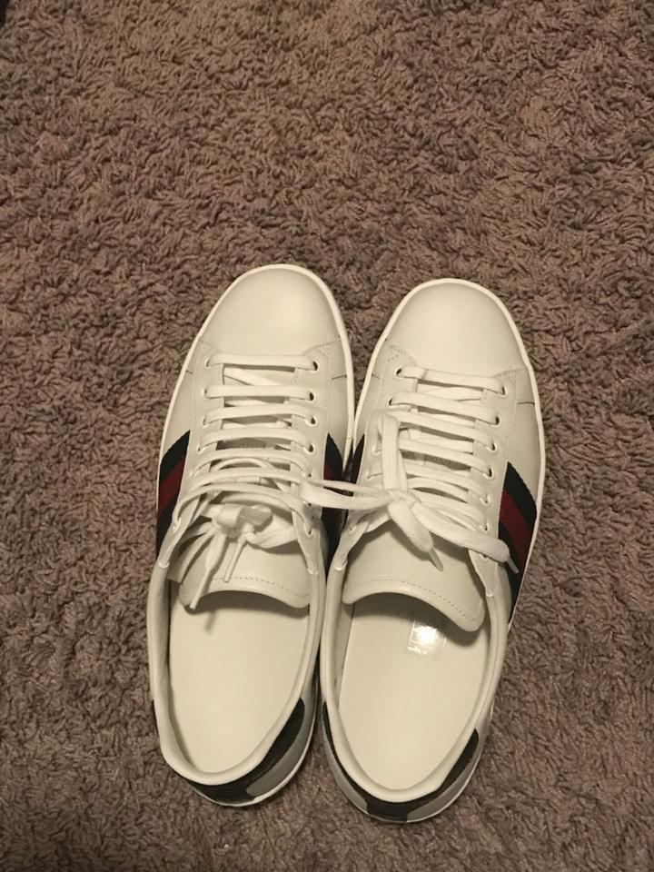 4601072ebf5 Gucci White Ace Leather Sneaker Green Crocodile Detail At The Back   Ace    Rubber Sneakers Size US 8.5 Regular (M