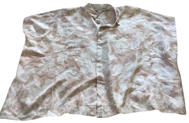 06df68241f4fd Diane von Furstenberg Silk Floral Evening Boxy Button Down Shirt creme  Image 0 ...