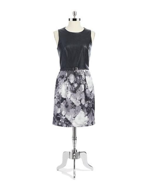 Vince Camuto Black & Gray Mixed Media Sleeveless A-line Mid-length Work/Office Dress Size 14 (L) Vince Camuto Black & Gray Mixed Media Sleeveless A-line Mid-length Work/Office Dress Size 14 (L) Image 1