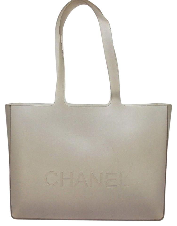 98a09bc7a9e Chanel Logo Jelly Rubber Clear with Inner Pouch Grey Vinyl Tote ...