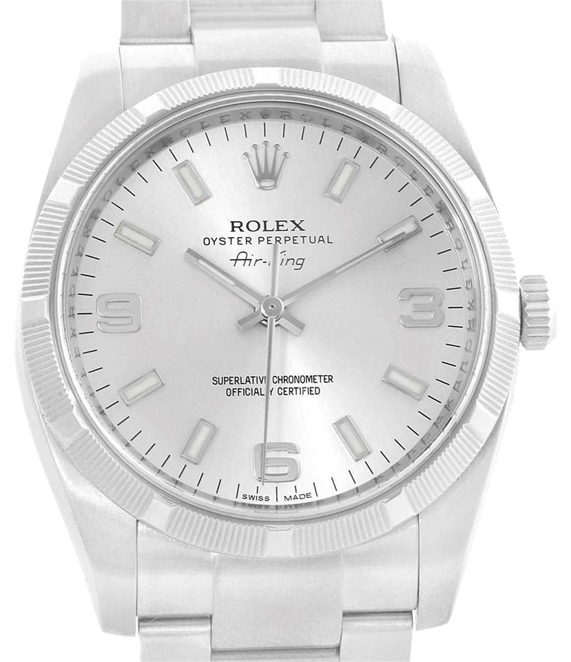 Rolex Silver Oyster Perpetual Air King Dial Steel Mens 114210 Watch