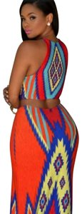 Blue, red with a dash of yellow Maxi Dress by Chesley
