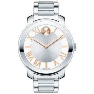 Movado Stainless Bracelet Silver Rose Gold Dial Bold 3600196 Watch