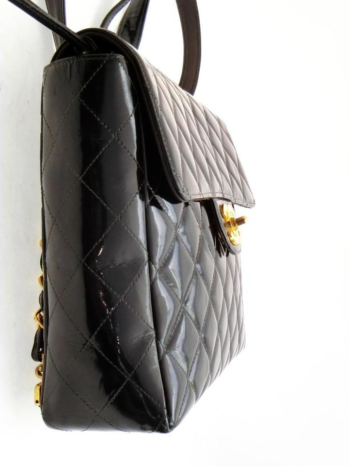 bf15cc7a72b1b Chanel Backpack Quilted Chain Jumbo Flap 227899 Black Patent Leather ...