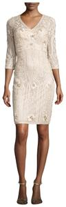 Sue Wong Embroidered Beaded Sequin Empire Waist Dress