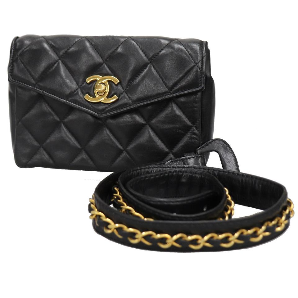 c00d0047fc60ac Chanel Rare Quilted Waist Bum Fanny Pack Black Lambskin Leather ...
