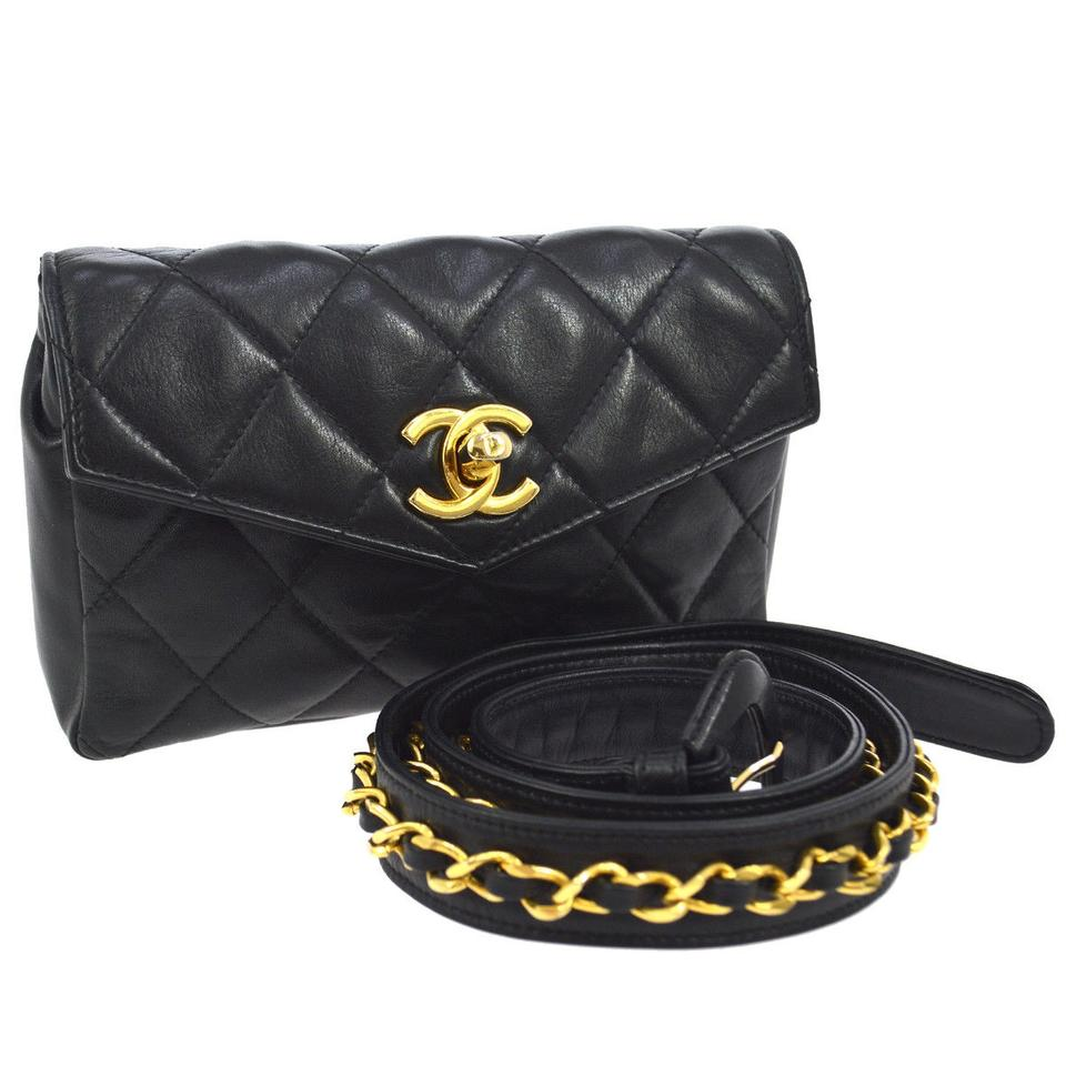 426e21168650 Chanel Waist Bag Mini Quilted Bum Black Leather Clutch - Tradesy