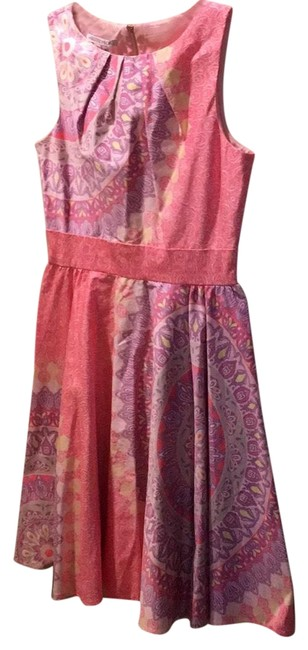 Maggy London Pink Combo Elegant Day Mid-length Work/Office Dress Size 8 (M) Maggy London Pink Combo Elegant Day Mid-length Work/Office Dress Size 8 (M) Image 1