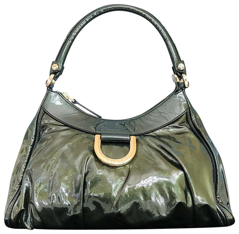 84c6871c98c70 Gucci Abbey D-ring Hobo Green Patent Leather Shoulder Bag - Tradesy