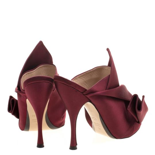 N21 Satin Pleated Leather Red Mules