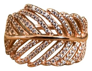PANDORA Rose Gold Light as a Feather Clear CZ Ring Size 5.5