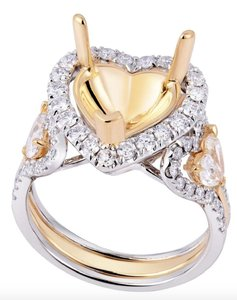 White and Yellow Gold 18k 1.30 Cttw Round Heart Shape Diamond Mount. Engagement Ring