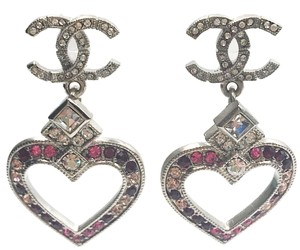 Chanel Chanel Silver CC Red Pink Crystal Heart Dnagle Piercing Earrings