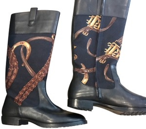 Ralph Lauren Black Leather with Canvas Equestrian Design/Black and Rich Earth Tones Boots