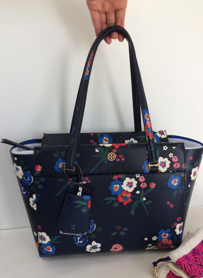 Blue New Floral Multi Parker Leather Tote Burch Tory Purse Summer UBP0nqw