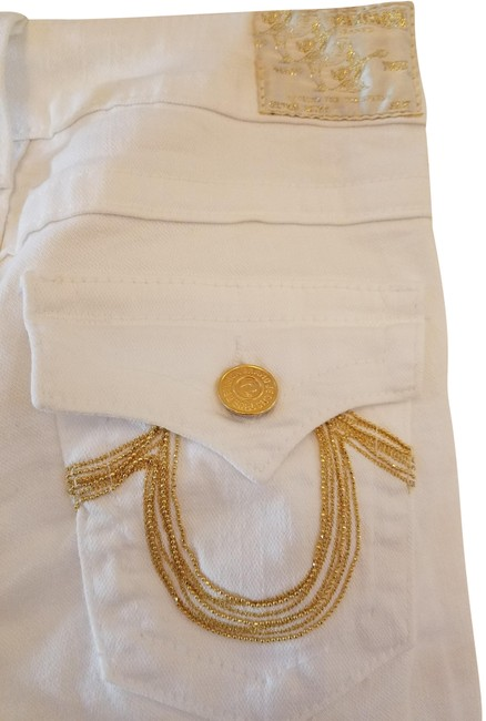 Item - White with Gold Beads On Pockets Light Wash World Tour Section Becky Denim Boot Cut Jeans Size 27 (4, S)