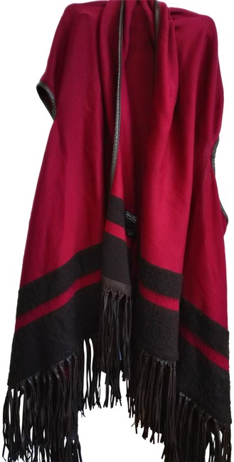 Item - Burgundy Brown Made In Italy Huge Leather Trimned Fringed Wrap Poncho/Cape Size 18 (XL, Plus 0x)