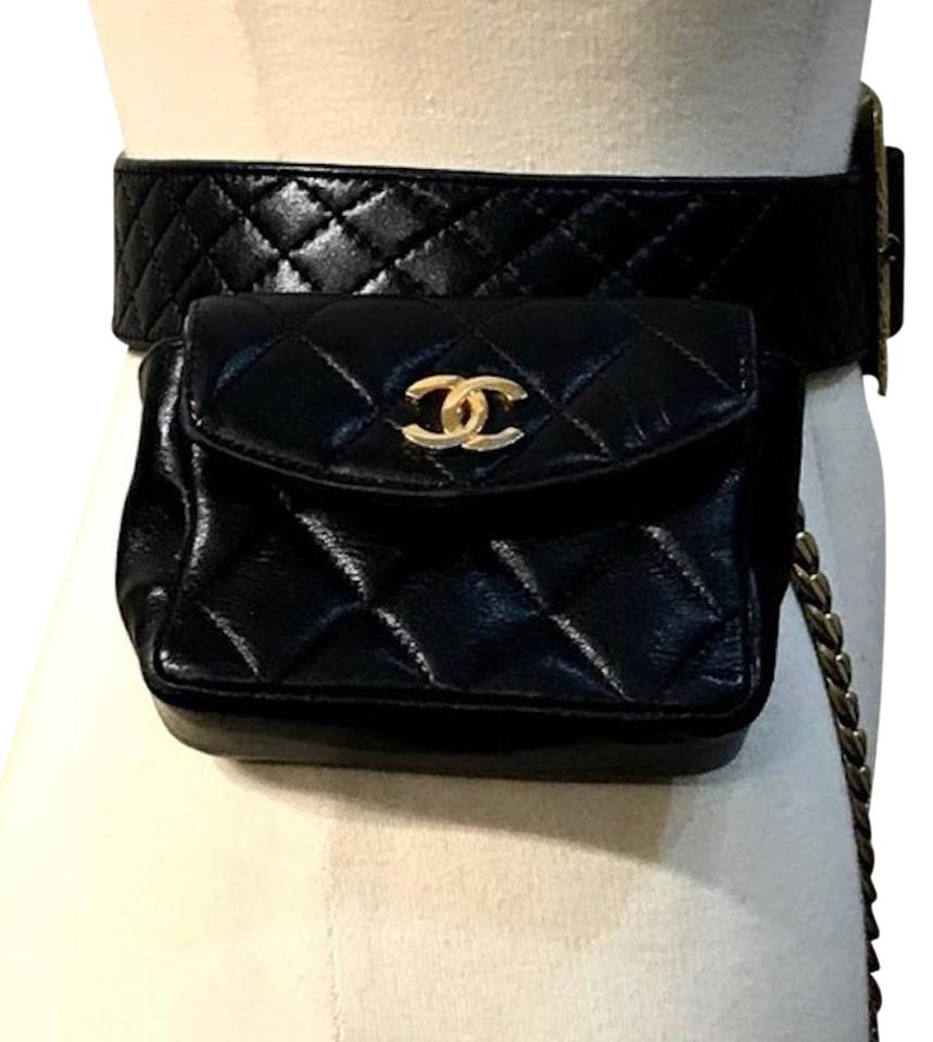 01578da6e835 Chanel Bag Rare Vintage Mini Fanny Pack Belt For Waist Black Leather ...