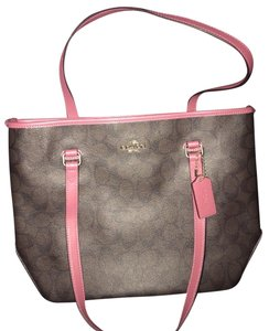Coach Signature Pvc Tote in Brown / Azalea