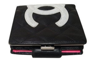 Chanel CHANEL Black Quilted Ligne Cambon Bifold Compact Wallet