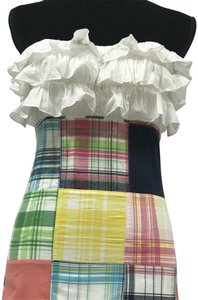 Lilly Pulitzer short dress Yellow, White, Blue, Green, Pink Plaid Ruffles Sleeveless Bustier on Tradesy