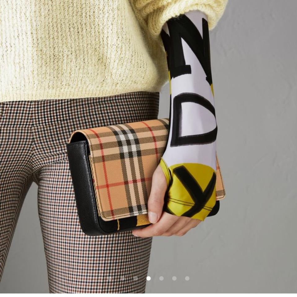 6fcbd53ffc20 Burberry London Vintage Check and Leather Wallet with Detachable Strap  Yellow Black Cross Body Bag - Tradesy
