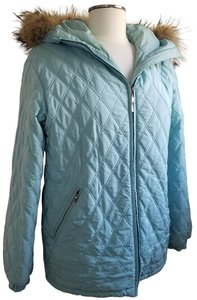 Post Card Hooded Fur Trim Winter/Fall Quilted Coat