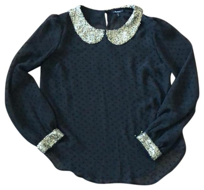 Item - Black with Sequins Semi-sheer Blouse Size 12 (L)