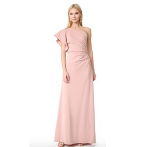Monique Lhuillier Blush One Shoulder Ruffle Bridesmaid Dress