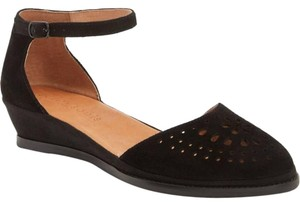 Gentle Souls Black d'Orsay Low Wedge Sandals