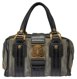 Gucci Aviatrix Boston Suede Leather Satchel in Olive & Black