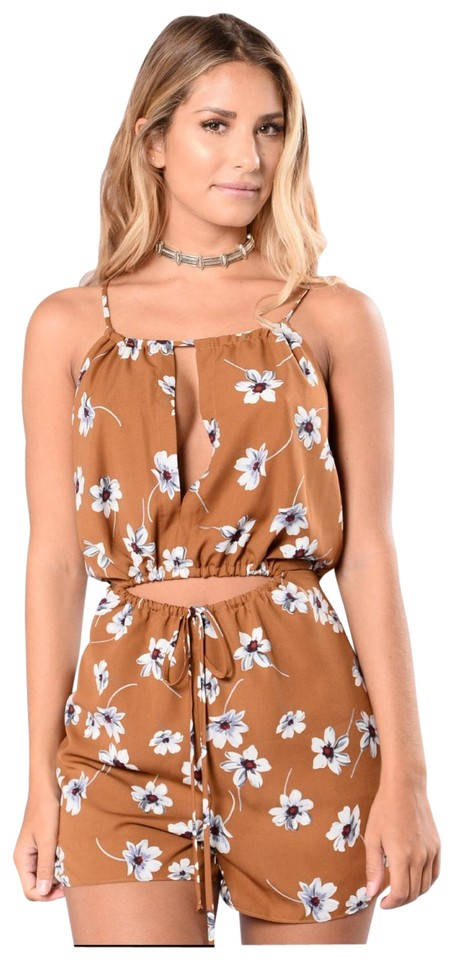 Brown Petal To The Metal Romperjumpsuit Tradesy