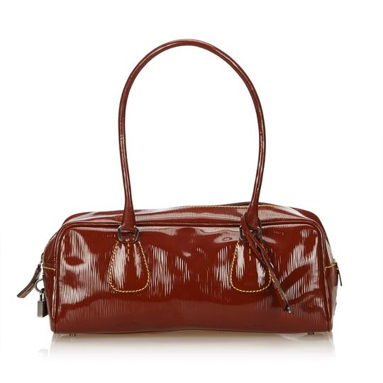 Brown Leather X Patent Leather Shoulder Bag by Prada