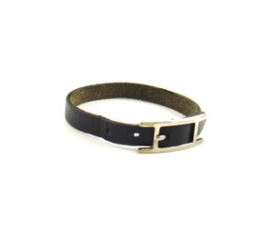 Hermès Silver/Black Leather Hapi Single Tour Bracelet France